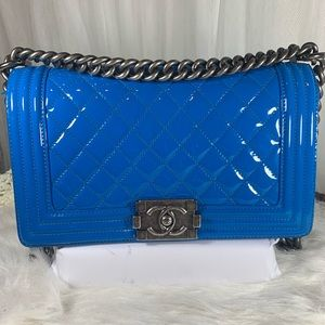Chanel Blue Patent Leather Old Medium Boy Bag